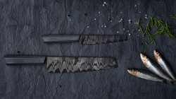 Design by: Tomas Vacek – Damascus knife with a concrete handle