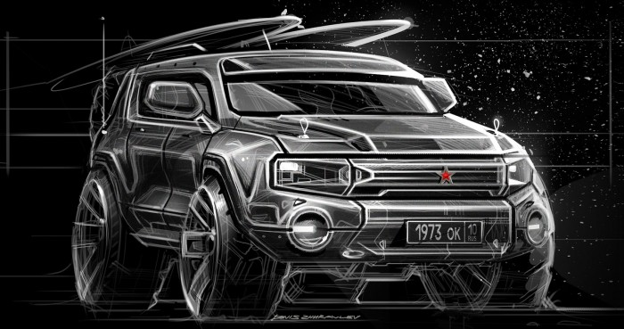 Design by: Denis Zhuravlev – Red car sketch