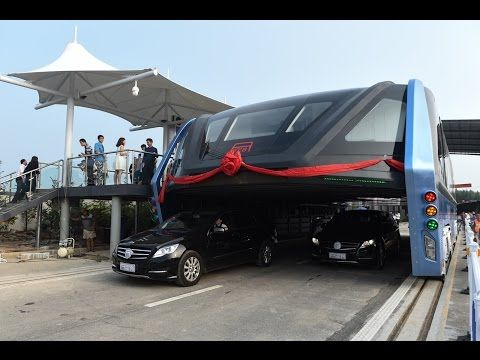 "Awesome! China's futuristic ""straddling bus"" launches 1st road test"