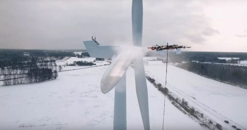 Aerones wind turbine cleaning drone